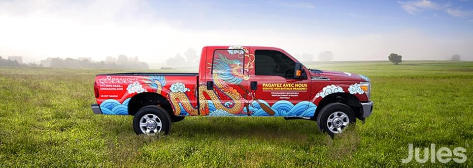 wrap 22 dragons ford f250 payagez avec nous lettrage par jules communications